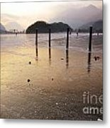 Ice On A Lake In Sunset Metal Print