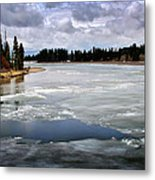 Ice On The Yellowstone River Metal Print