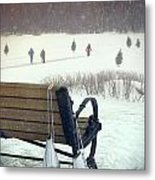 Ice Skates Hanging On Bench With People  Skating In Background Metal Print