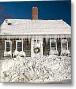 Icicles Hang From The Roof Of This Home In Barnstable On Cape Co Metal Print