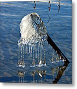 Icy Fence Post Metal Print