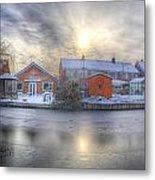 Icy River Panorama Metal Print