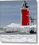 Icy South Haven Mi Lighthouse Metal Print