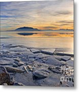 Icy Sunset On Utah Lake Metal Print