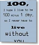 If You Live To Be 100 - Blue Metal Print
