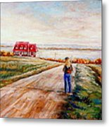 Ile D'orleans Road To The Red Gabled House Quebec Maritime Landscape Metal Print