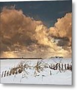 Illuminated Clouds Glowing Above A Metal Print