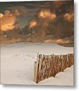 Illuminated Clouds Glowing Over A Snow Metal Print