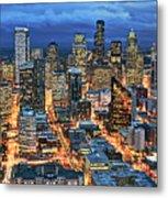 Illuminated Of Downtown Seattle Metal Print