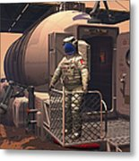 Illustration Of An Astronaut Leaving Metal Print by Walter Myers