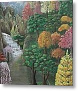 Imagined Autumn In Japan Metal Print by Ana Maria  Garcia Ruiz