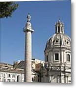 Imperial Fora With The Trajan's Column And The Church Santissimo Nome Di Maria.  Rome Metal Print by Bernard Jaubert