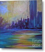 Impressionism-city And Sea Metal Print by Soho