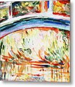 Impressions On Monet Painting Of Pond With Waterlilies  Metal Print