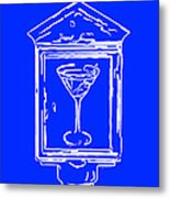 In Case Of Emergency - Drink Martini - Blue Metal Print by Wingsdomain Art and Photography