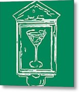 In Case Of Emergency - Drink Martini - Green Metal Print by Wingsdomain Art and Photography