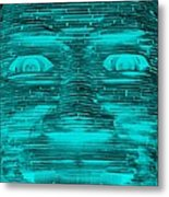 In Your Face In Neagtive Turquois Metal Print