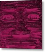 In Your Face In Negative  Hot Pink Metal Print