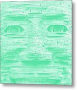 In Your Face In Negative Light Green Metal Print