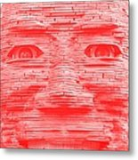 In Your Face In Negative Light Red Metal Print