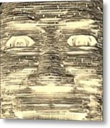 In Your Face In Negative Sepia Metal Print