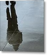 Inclement Winter Pedestrian Metal Print