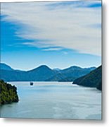 Incoming Ferry Through A Fjord  Metal Print