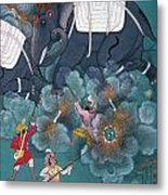 India: Elephant Fight Metal Print