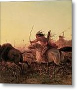 Indian Buffalo Hunt Metal Print