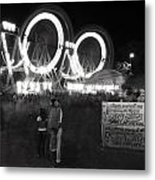 Indian Carnival Ferris Wheel And A Family Metal Print