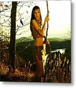 Indian Girl With Crows Metal Print