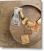 Indian Money In A Dish Metal Print
