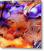 Indigo Brown Orange Yellow And Silver  Metal Print