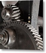 Industrial Gears Whith Oil Drops Metal Print
