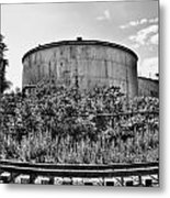 Industrial Tank In Black And White Metal Print