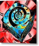Infinity Time Cube Blue On Red Metal Print
