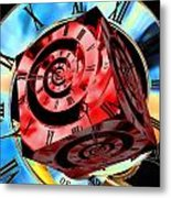 Infinity Time Cube Red On Blue Metal Print