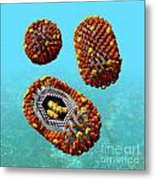 Influenza Virus Scene 1 Metal Print by Russell Kightley