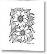 Ink Sunflower Metal Print