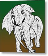 Inked Elephant In Green And Brown Metal Print