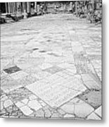 Inscription In The Floor Tile Of The Gymnasium Stoa Ancient Site Of Salamis Famagusta  Metal Print by Joe Fox