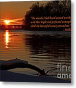 Inspirational Sunset With Quote Metal Print
