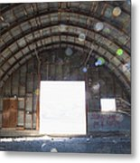 Interior Of Abandoned Farm Equipment Shed Metal Print by Paul Edmondson