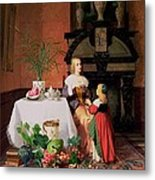 Interior With Figures And Fruit Metal Print