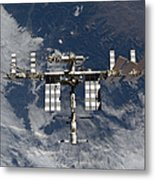 International Space Station Backgropped Metal Print