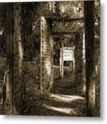 Into The Butterfly Garden Sepia Metal Print