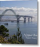 Into The Fog At Newport With Text Metal Print