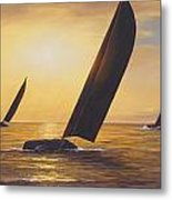 Into The Sunset - Panoramic  Metal Print by Diane Romanello