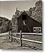 Involved In One's Work Sepia Metal Print
