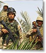 Iraqi Soldiers Conduct A Foot Patrol Metal Print